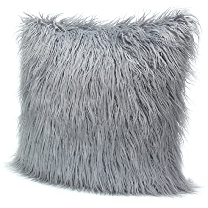 Amazon Com Icosy Fluffy Pillow Case Mongolian Faux Fur Pillow Cover