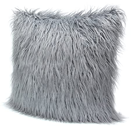 DrCosy Fluffy Pillow Case Mongolian Faux Fur Pillow Cover Super Soft Interesting Grey Faux Fur Pillow Covers