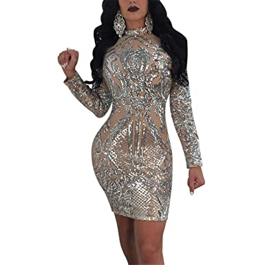 Antique Style Women s Sexy Chic See Through Sequins Bodycon Cocktail Party  Club Night Dress at Amazon Women s Clothing store  5d4ca0aab2bb