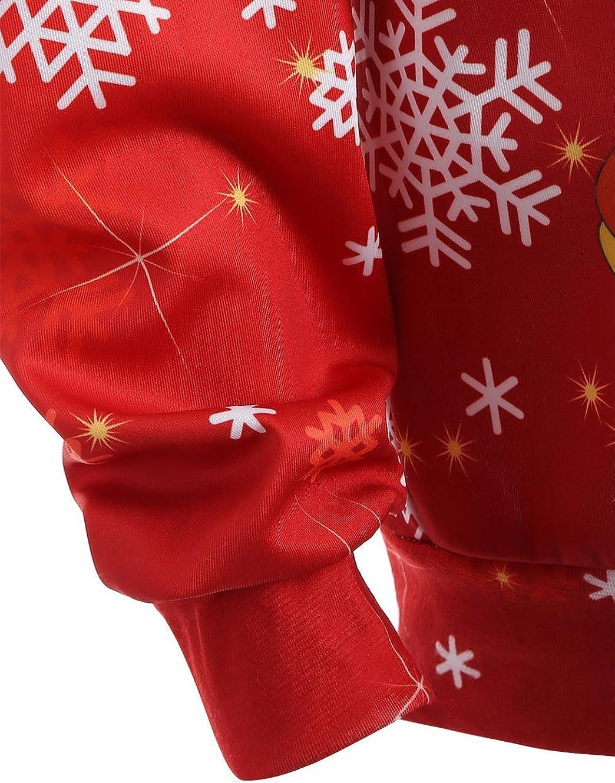 Homebaby Felpe con Cappuccio Natale Donna Elegante Babbo Natale Camicetta Ragazza Cotone Sportive Tops Manica Lunga Costume di Natale Autunno Inverno Giacca Regalo di Natale