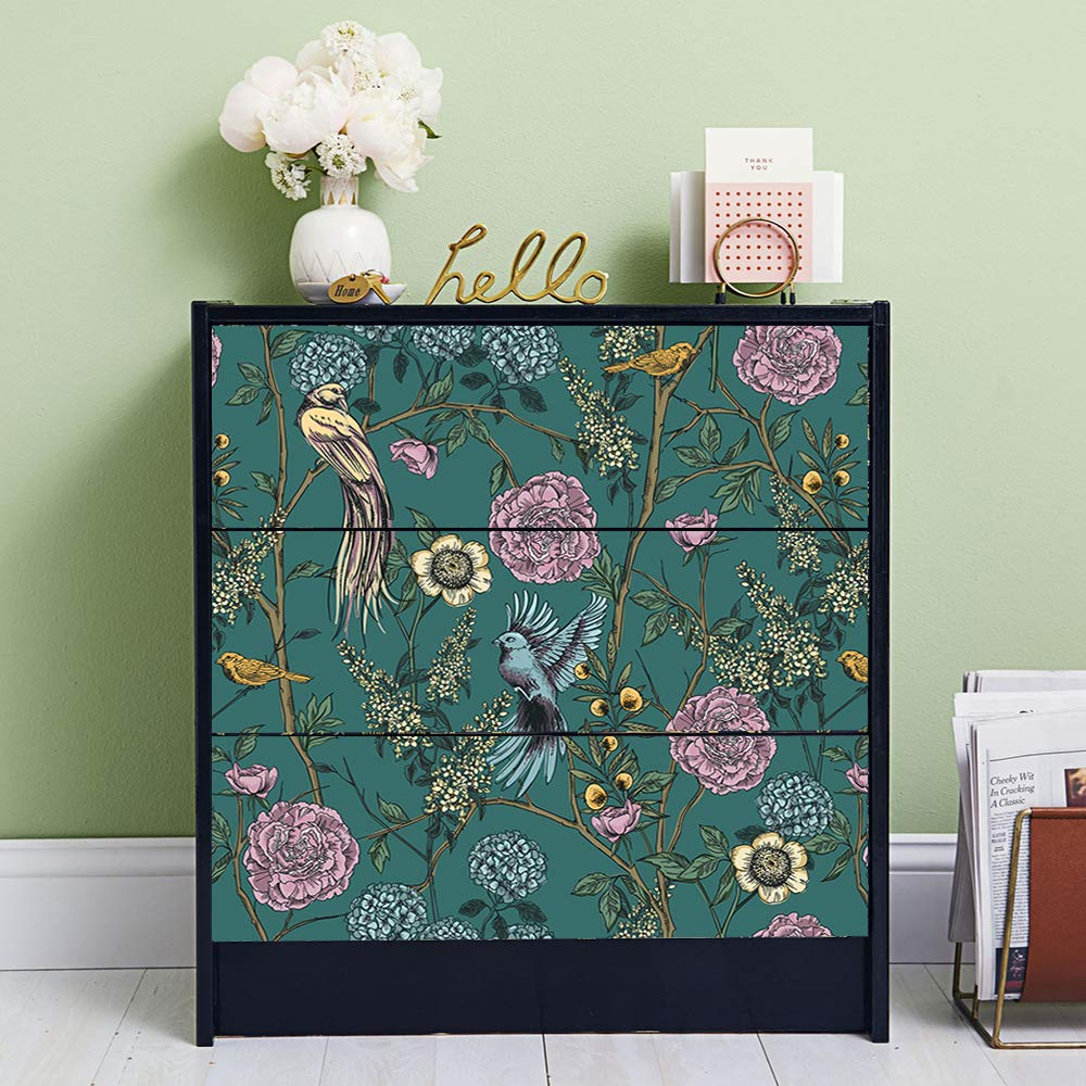 """Alwayspon Victorian Garden Decals for IKEA MALM Dresser, Removable Drawer  Front Stickers, Peel and Stick Furniture Sticker Skin, 6 Pcs x 61.6""""x6.6"""""""