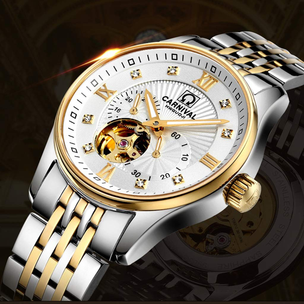 CARNIVAL herrklocka, automatiska mekaniska klockor 24-timmars skala affärsstil vattenresistens armbandsur 8612G Steel Strap - Gold White