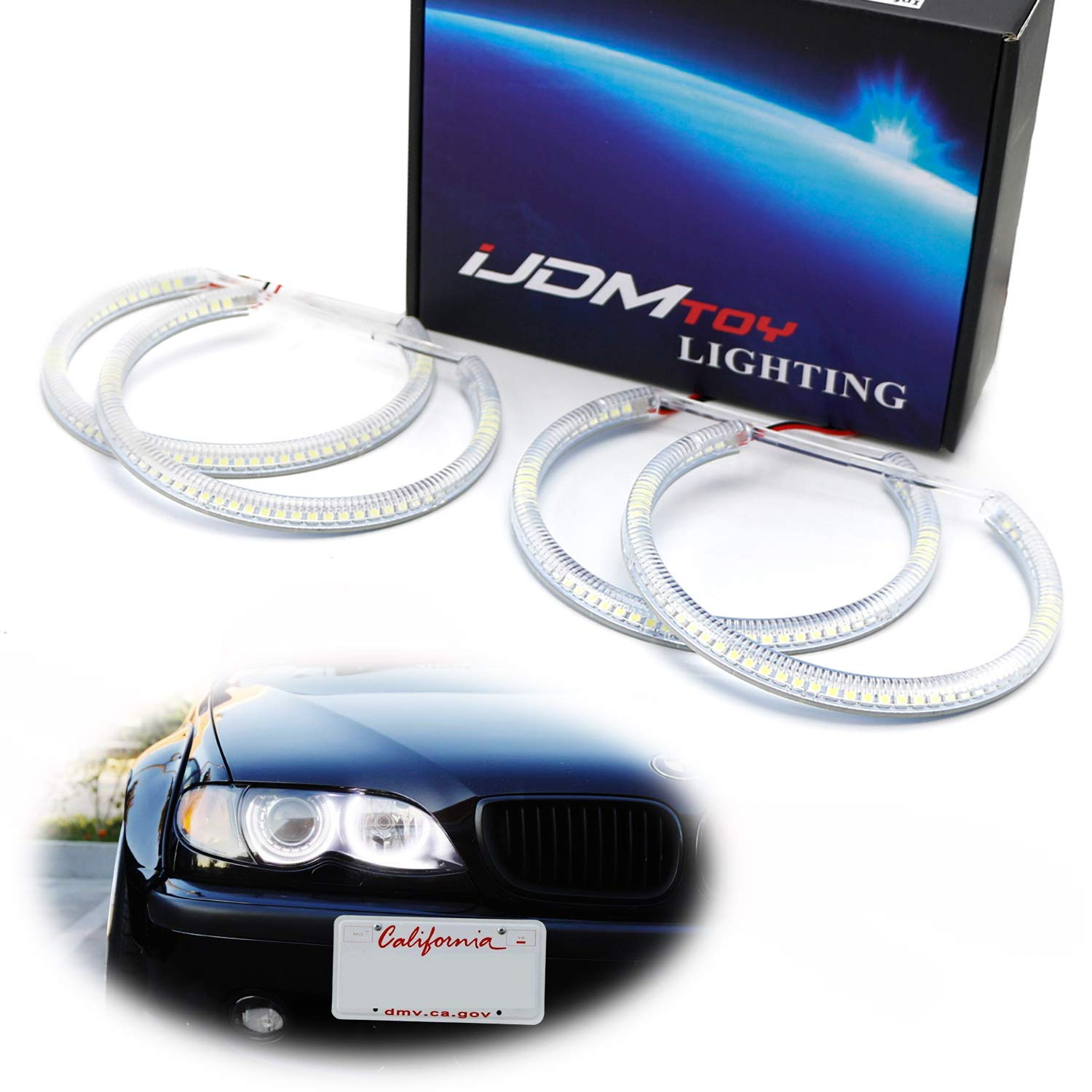 Ijdmtoy 7000k Xenon White 264 Smd Led Angel Eyes Halo Ring Lighting Kit For Bmw E36 E46 3 Series E39 5 Series E38 7 Series With Adaptive Xenon Hid