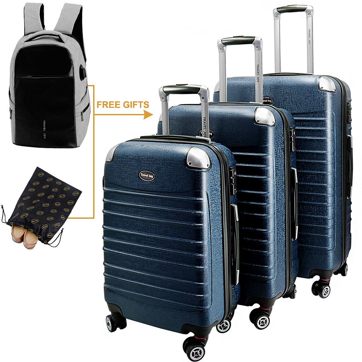 Hard Shell Luggage Set TSA Spinner Suitcase Lightweight Carry On 3 Piece (20'' 24'' 28'') Blue