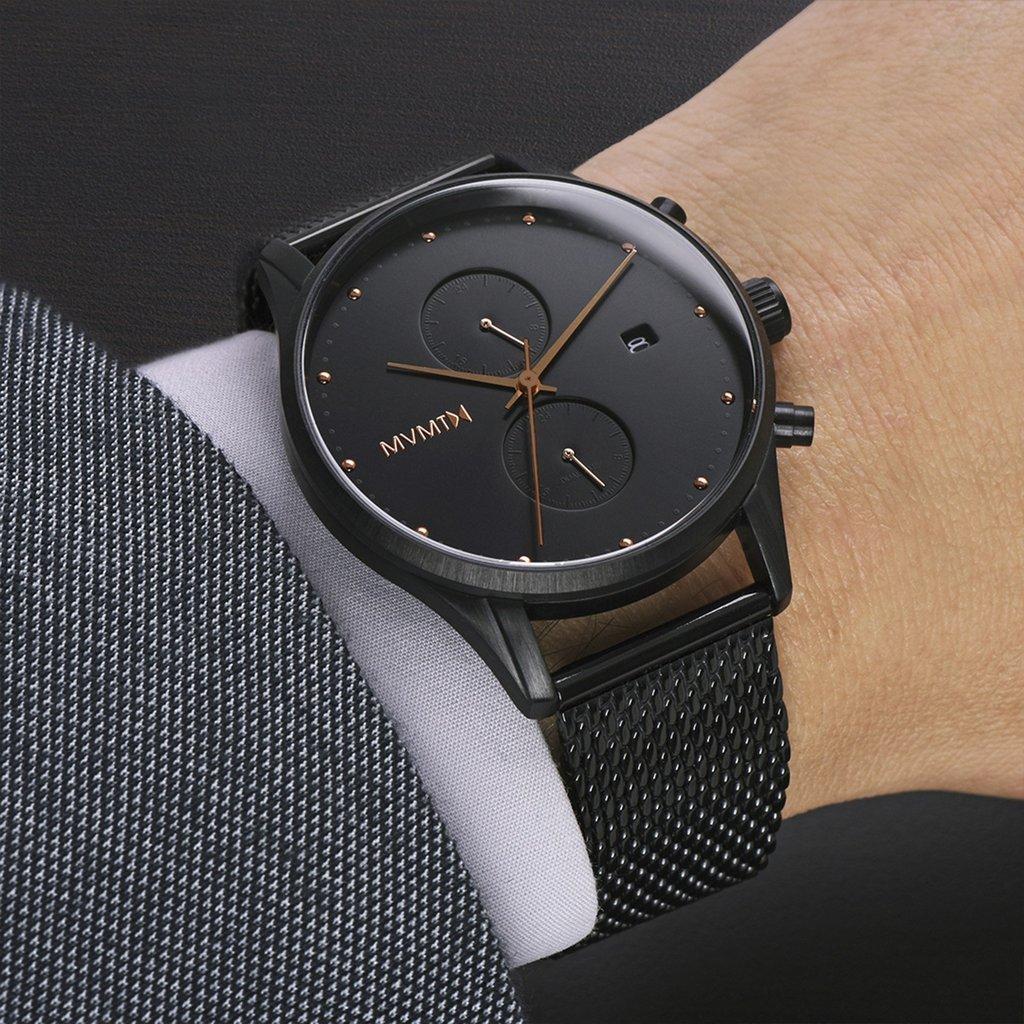 mvmt Voyager Slate Black Rose Mesh Hombre Reloj de pulsera: Amazon.es: Relojes