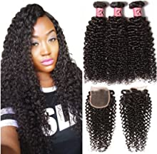 Beauty Forever Hair Unprocessed Brazilian Virgin Curly Hair Weave 3 Bundles with 1piece Free Part Lace Closure 100% Human Hair Extensions Natural Color (18 20 22+16closure)
