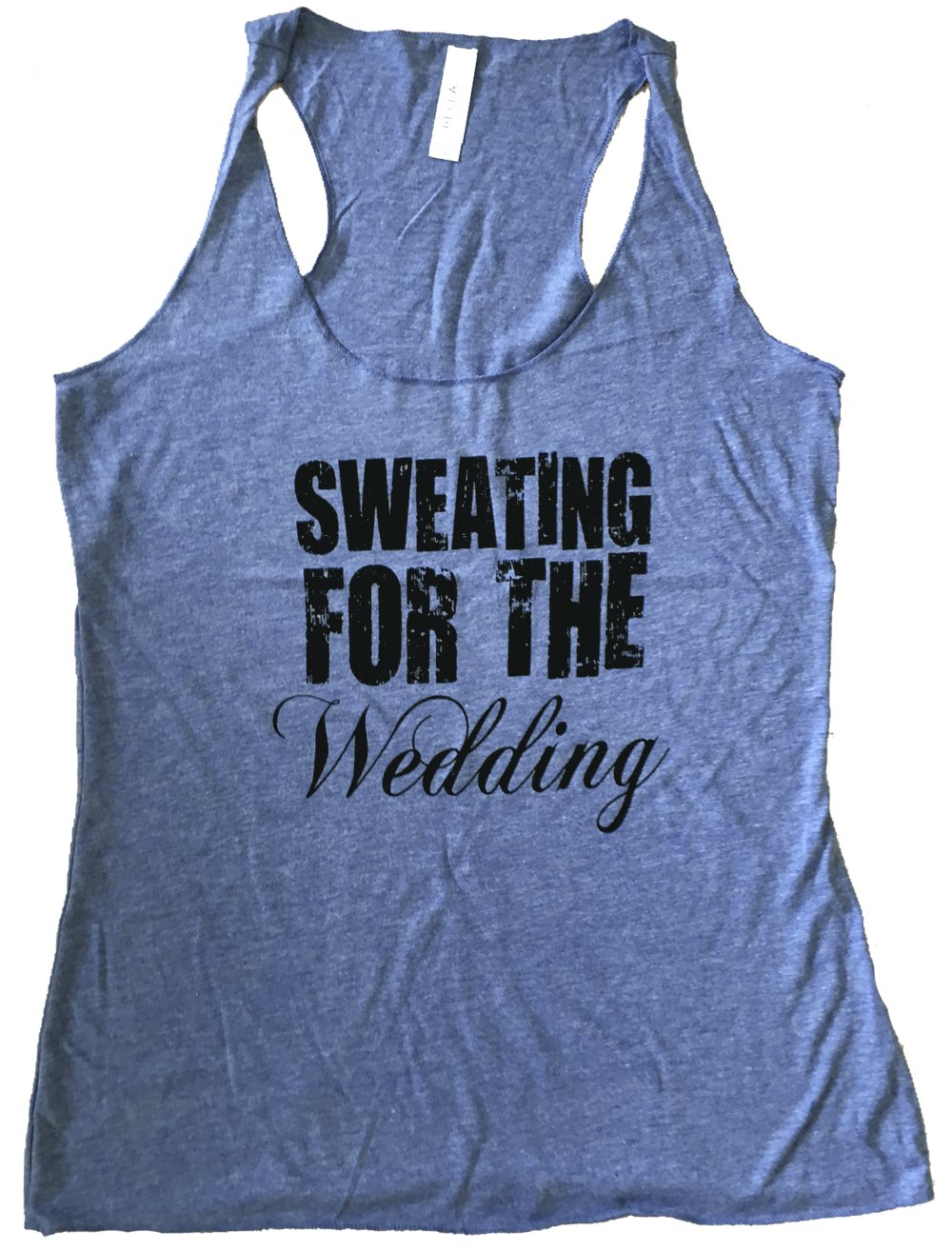 Friendly Oak Women's Sweating for the Wedding Tank top- M - Heather blue