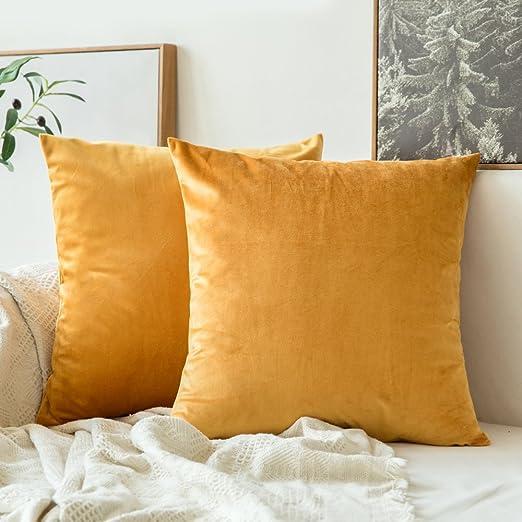 MIULEE Pack de 2 Terciopelo Suave Funda de Cojín Decorativo Cuadrado Manta Funda de Almohada para Sofá Dormitorio Coche con Cremallera Invisible, ...