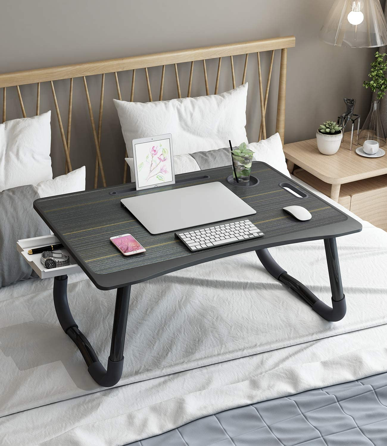 Laptop Desk - Larger Size Bed Desk for Writing and Laptop, Multi-Function Laptop Table with Storage Drawer, Bed Tray for Eating Breakfast, Working, Watching Movie on Couch/Sofa/Floor