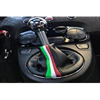 fiat 500 dal 2006 cuffia cambio in vera pelle on tricolore