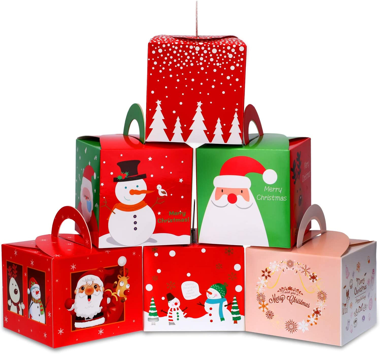 Boao 30 Pieces Christmas Candy Boxes Paper Gift Boxes with Christmas Elements Patterns for Xmas Party Supplies, 6 Styles