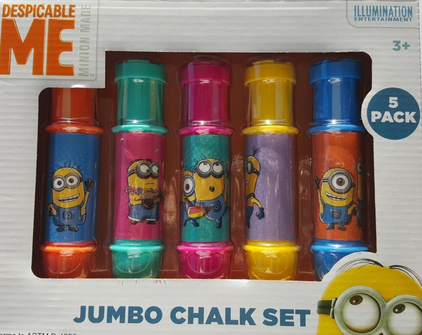 Despicable Me Minion 5 PC Jumbo Chalk Set Adjustable Draw and Play