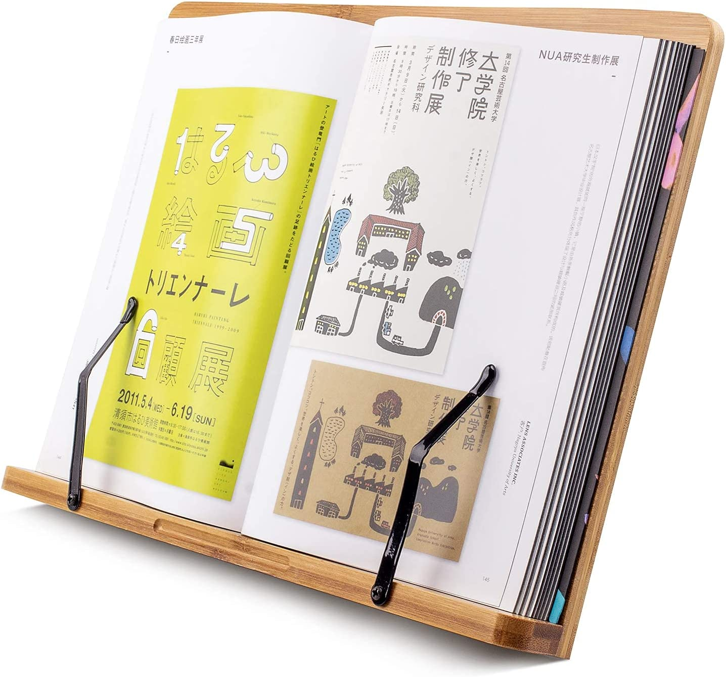Large 15 Inch XL Bamboo Book Stand For Textbooks reading hands free,cookbook stand,Laptop,iPad,tablet PC,Music Book,With Adjustable Motherboard Angle Ergonomic Paper Holder Reading In Bed Display Desk