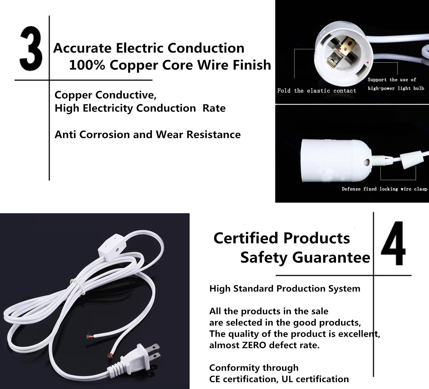 Soofoo 3pack Pendant Light Socket 115 Feet Extension 2 Wiring A Lamp Knot Prong Ac Power Cord Adapter White With On Off Switch E26 E27 Base Bulbs