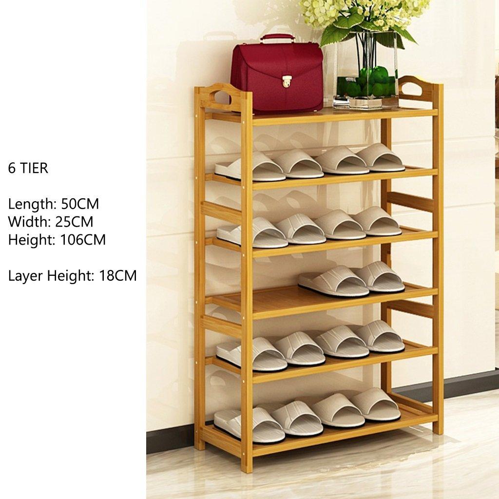 Kleine Schuhständer Für Schlafzimmer Flur 3 bis 6 Tier Platzsparende Speicherorganisator Kleine Bambus Regal Länge 50 cm (Größe : 3 Tier) qiangzi