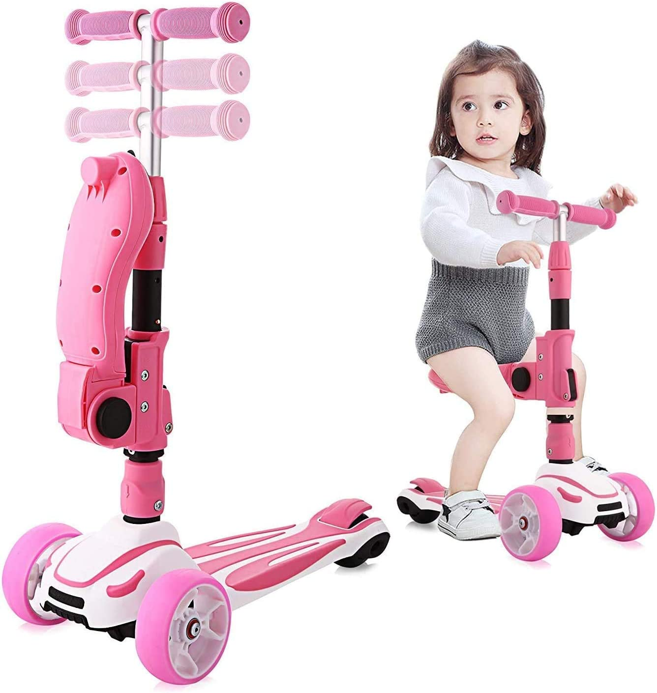 Hikole 3 Wheels Scooter for Kids with Foldable and Removable Seat Adjustable Height, 3 LED Light Wheels, Kick Scooter for Girls Boys 2-8 Years Old Pink