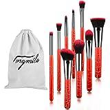 Angmile set di pennelli per trucchi da 9 pezzi, rosso, pennello per make-up con borsa di flanella, per trucco professionale, per fondotinta, cipria, fard, ombretti