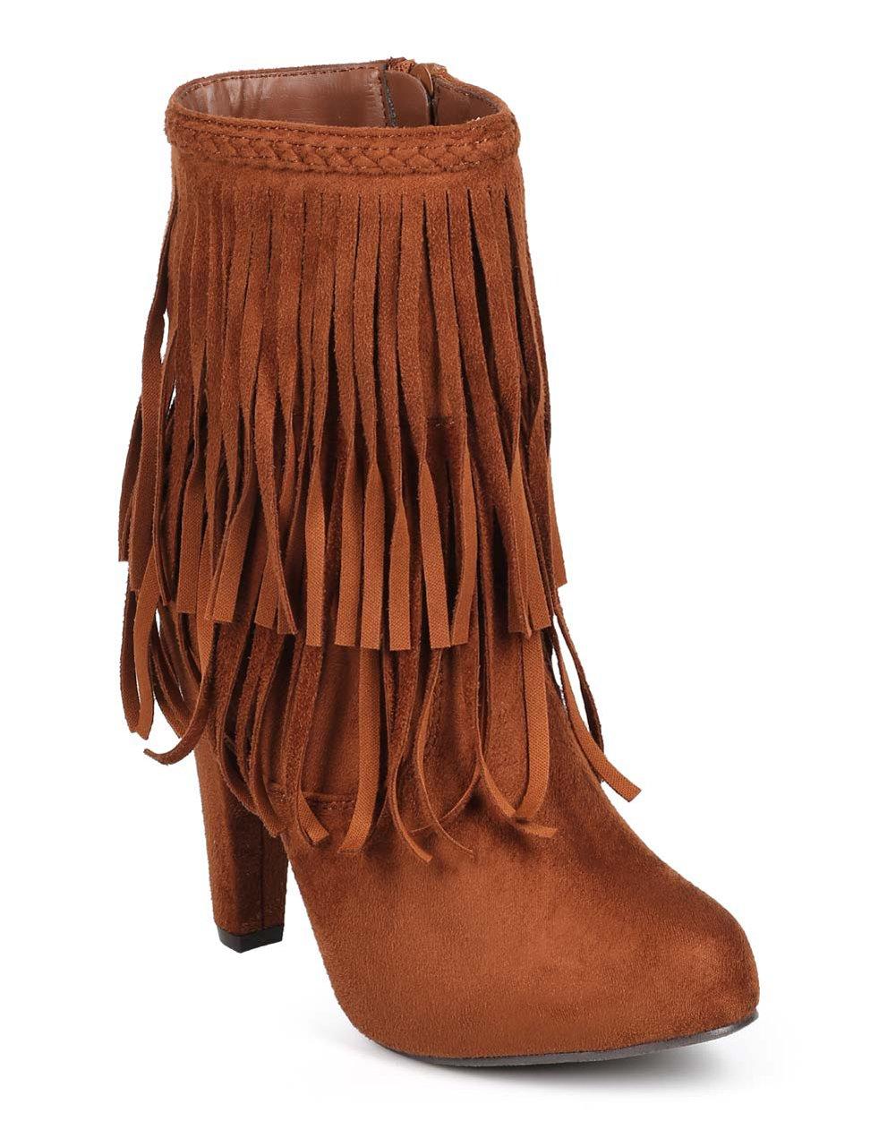 Phoebe 11 Womens Fringe 2 Layer High Heel Ankle Bootie Black B074BD9WHW 7.5 B(M) US|Tan