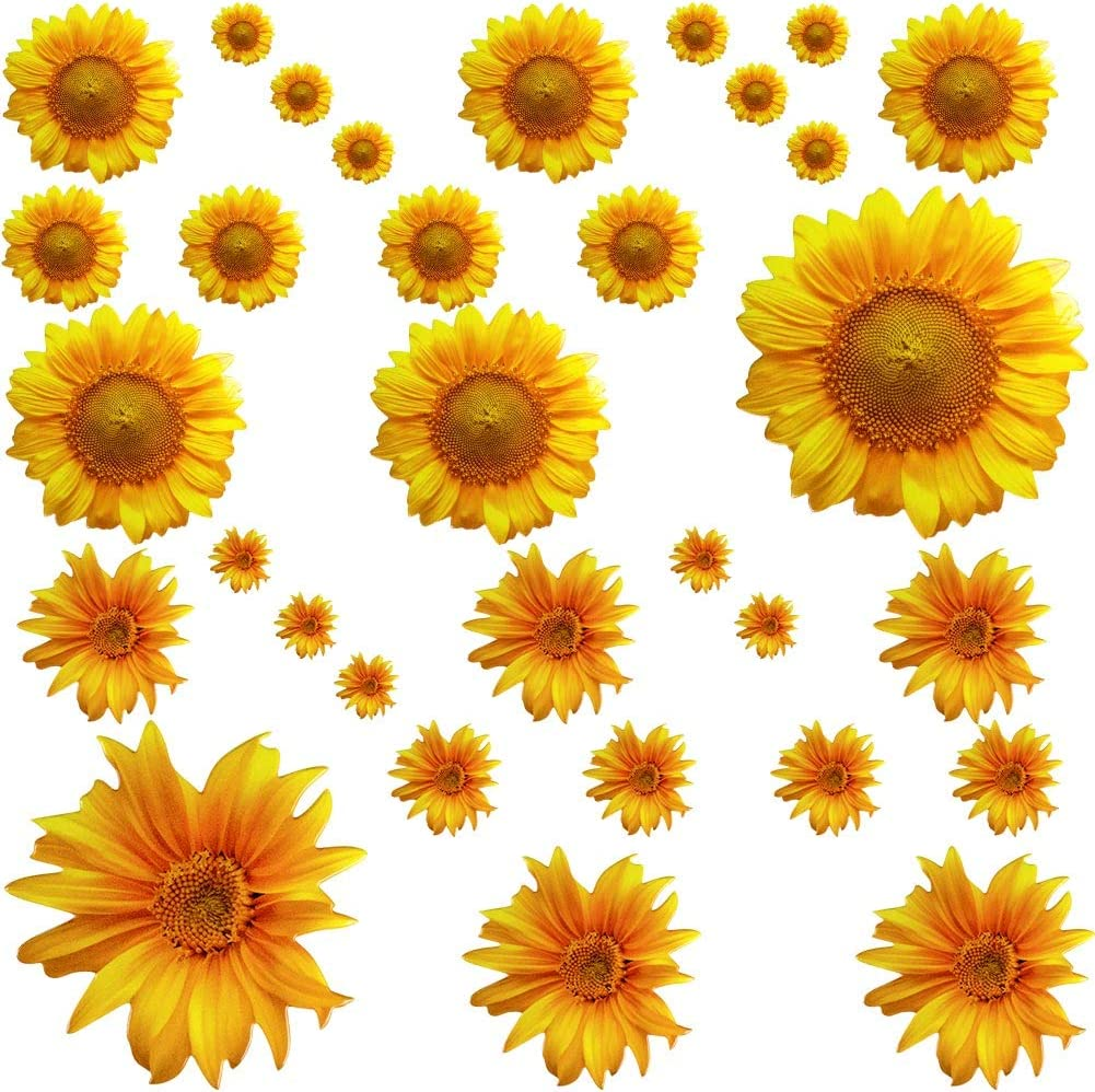 Sunflower Decor, 32Pcs Yellow Flower Wall Stickers, Removable Wall Art Decor Floral Decals for Nursery Living Room Kitchen Party Decorations
