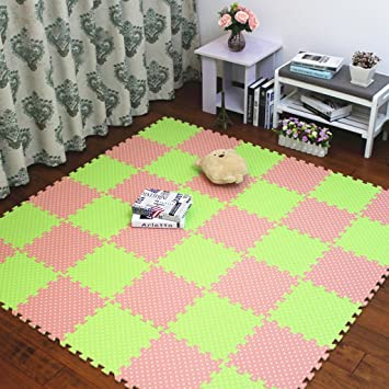 Fenfen Alfombra de Piso de Espuma Dormitorio Bebé Niños Tatami Verde Puzzle Mosaico de Suelo Baby