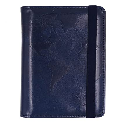 787b72ea5727 Kandouren RFID Blocking Passport Holder Cover Case,travel luggage passport  wallet made with Blue Map Crazy Horse PU Leather for Men & Women