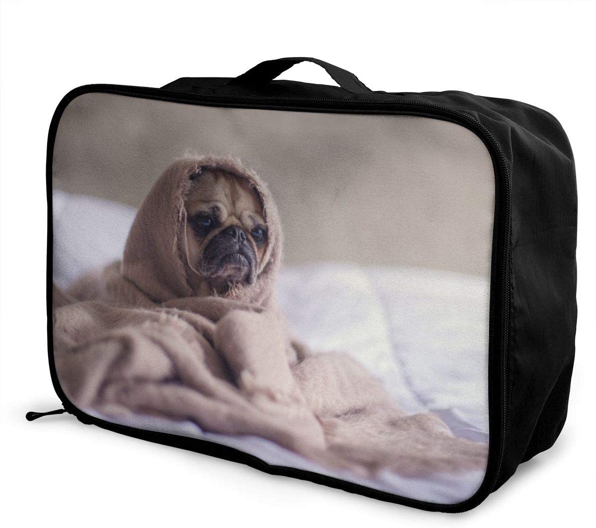 Yunshm Pug Dog Blanket Bed Face Animal Pet Funny Trolley Handbag Waterproof Unisex Large Capacity For Business Travel Storage
