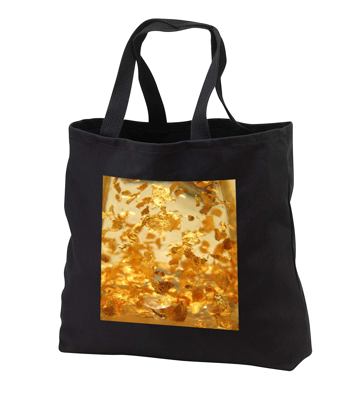 Lens Art by Florene - Everything Gold - Image of Macro Gold Flakes Float Under Glass - Tote Bags - Black Tote Bag JUMBO 20w x 15h x 5d (tb_291021_3)