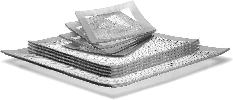 GAC Elegant Designed Square Tempered Glass Dinner Plates, Dessert Plates, and Serving Platter Glass Dinnerware Set Service for 4 – Break and Chip Resistant - Oven and Microwave Safe - Dishwasher Safe