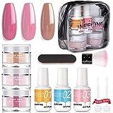 Nail Dipping Powder Kit - 1s Fast Dry Dip Nail Powder System Starter Kit 3 Colors Dip Powder Nail Kit Acrylic Dip Powder…