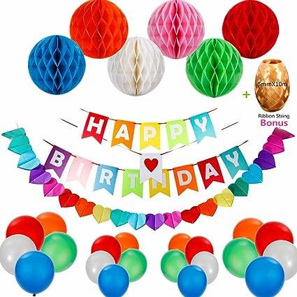 Decoraciones de Feliz Cumpleaños,Feliz cumpleaños decoraciones Pancartas Happy Birthday Banners ,Rainbow Paper Guirnaldas 110Inch + 6 Bolas de Celda de Abeja de Papel de Colores, 15 Globos para Inflar para Decoraciones de Fiesta