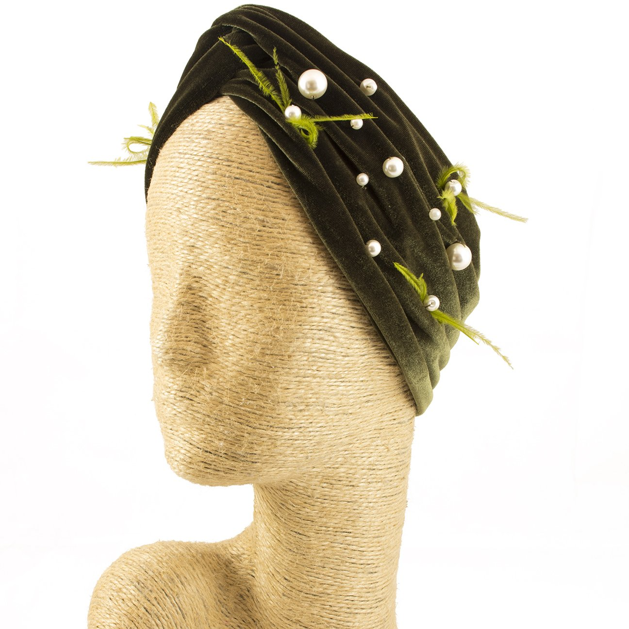 Fascinator, Velvet Headbands, Millinery, Worldwide Free Shipment, Delivery in 2 Days, Customized Tailoring, Designer Fashion, Pearl, Head wrap, Boho Accessories, Green, Beaded Headbands, Jewelled