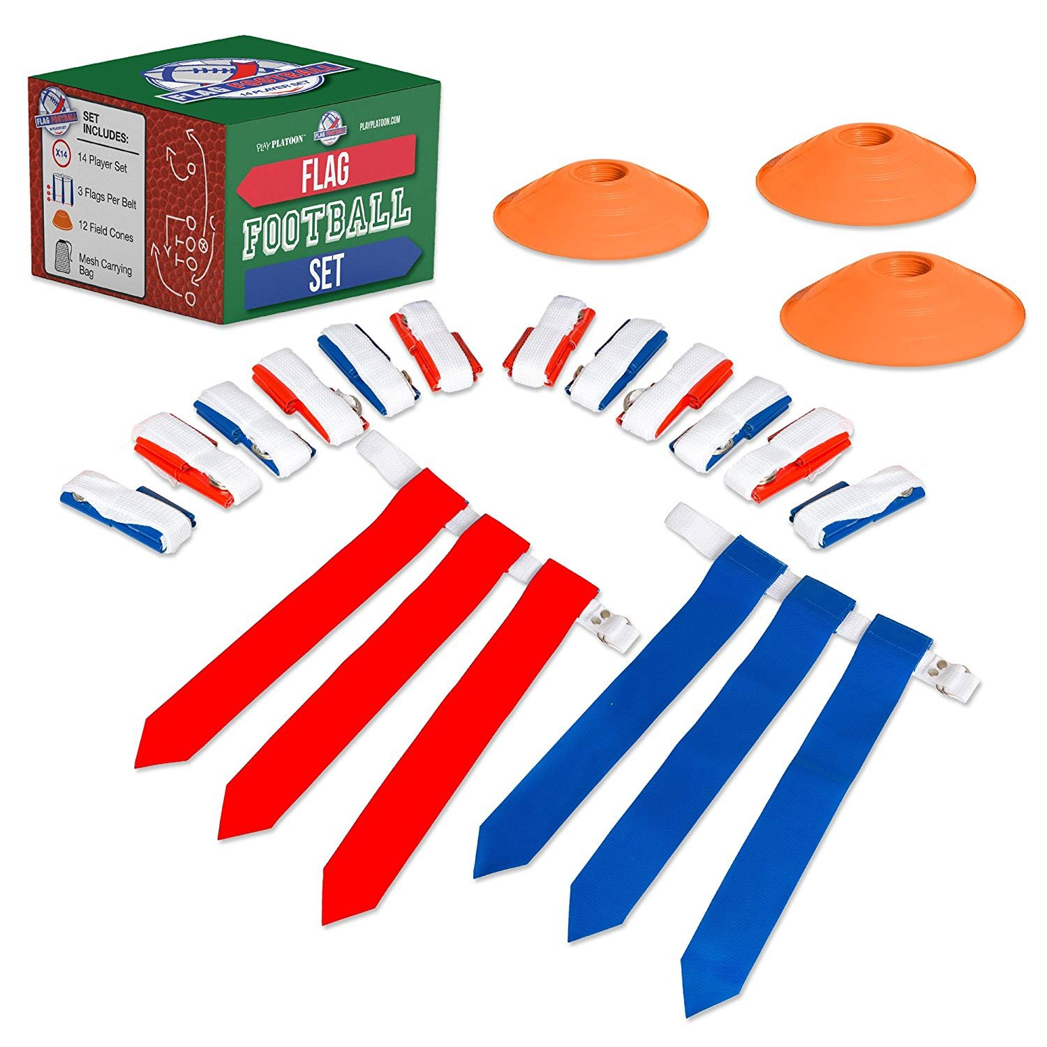 14 Player Flag Football Deluxe Set - 14 Belts, 42 Flags, 12 Cones & 1 Mesh Carrying Bag for Flag Football Play Platoon