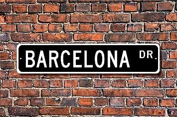 Aersing Placa Decorativa para el hogar, Diseño de Barcelona con Texto en Inglés Souvenir Barcelona