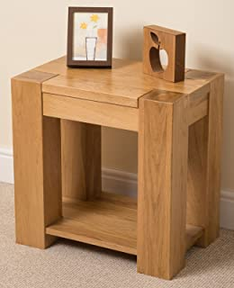 OAK FURNITURE KING Kuba Chunky Solid Oak Wood Nest of 3 Coffee Side