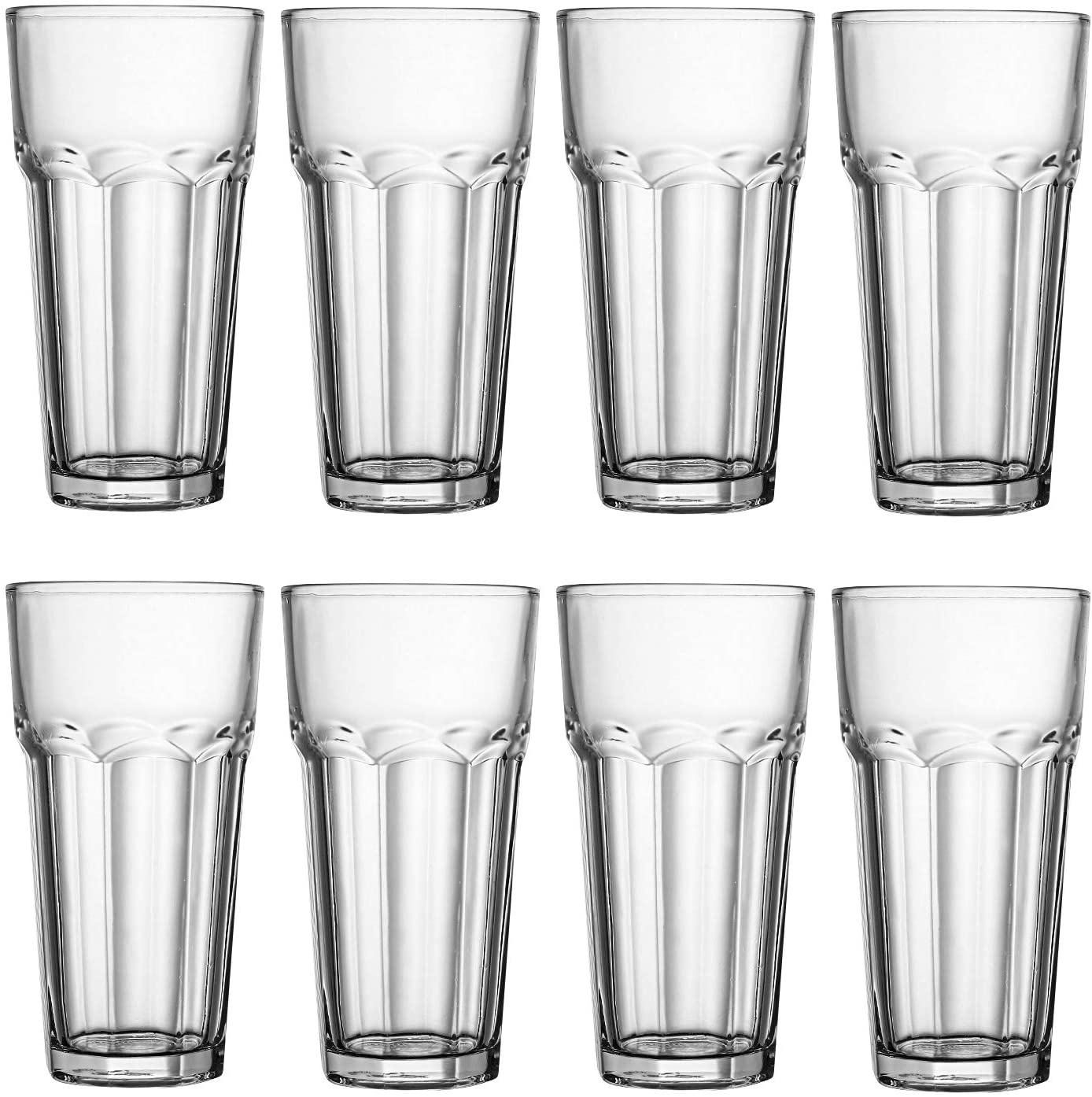 Glass Cups 12 oz,Encheng Clear Highballl Glass Juice Glass Old Fashioned Cocktail Glass Drinking Glasses For Kitchen,Regular Base Water Cup Tumblers For Beverage Glass Drinking Cups Beer Cups Set Of 8