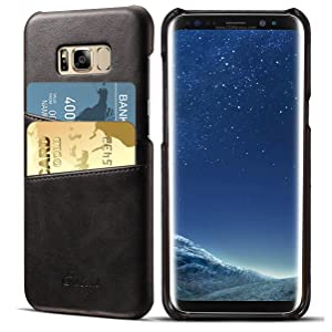 Galaxy S8 Case, Tomplus [Card Slot Vintage Series] [Genuine Leather] Soft Leather Case [2 Card Slots], Ultra Slim Leather Case Back Cover for Samsung Galaxy S8 (Black)