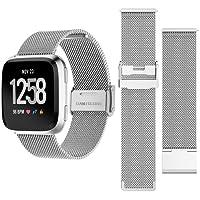 Happytop mesh Fitbit versa fascia di ricambio in acciaio INOX orologio da polso Wristband Fitbit braccialetto