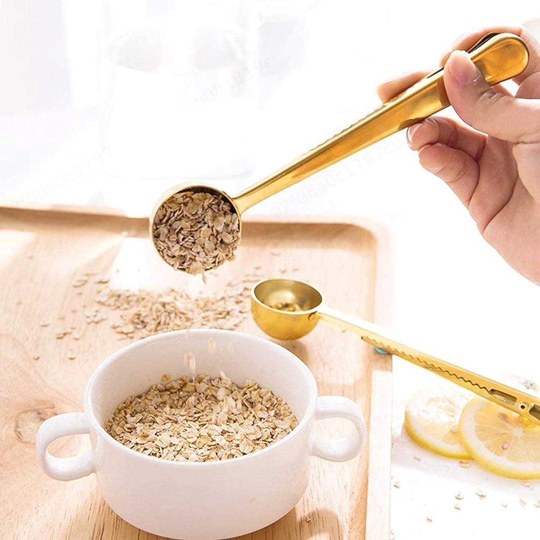 BEAFACE Café con Bola Bolsa de Cierre de Clip Grado de Oro de Alimentos Acero Inoxidable 304 para Granos de café de Leche en Polvo de té de harina de Avena (2