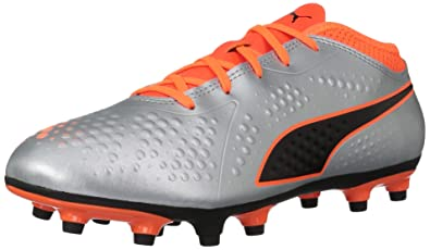 295036babb4a PUMA Unisex ONE 4 Syn FG Jr Soccer Shoe Silver-Shocking Orange Black, 2