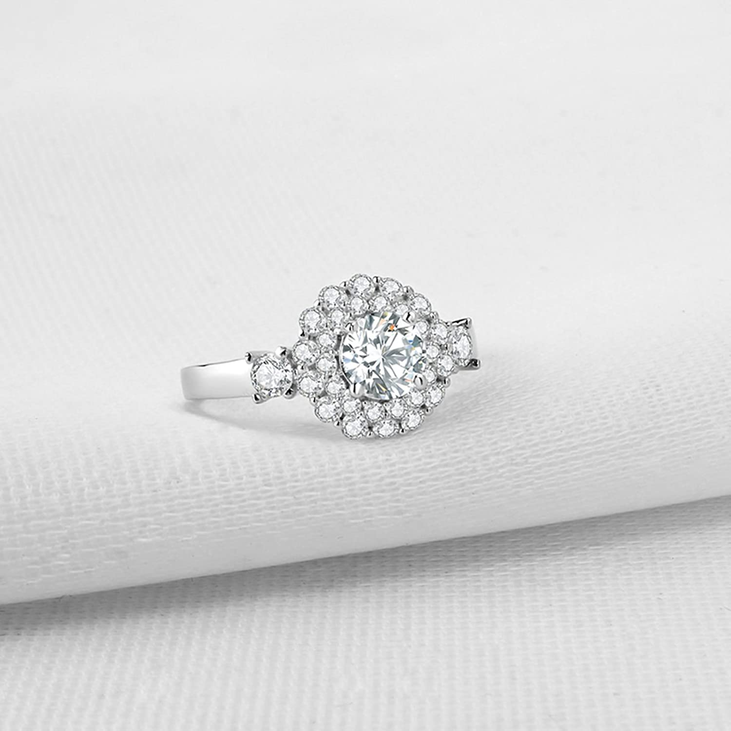 Bishilin Wedding Band Ring Cubic Zirconia for Women Round Cubic Zirconia Flower Ring Size 8