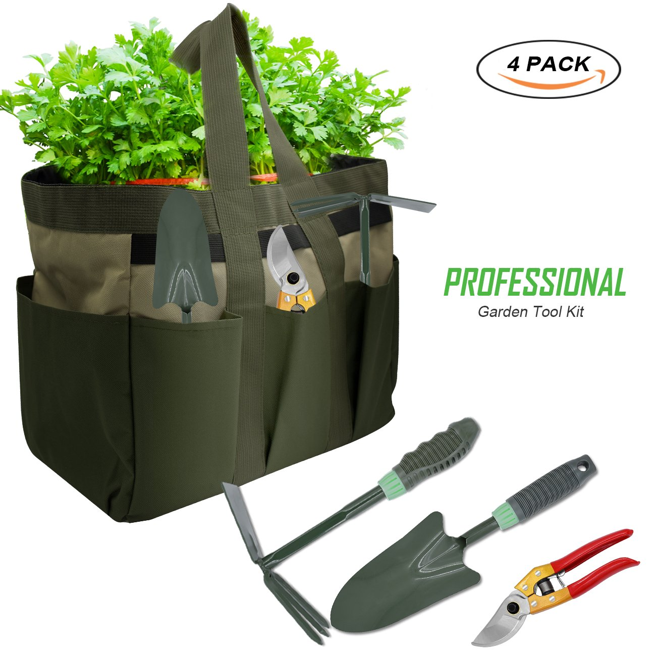 KOONEW Garden Tools Set,Ergonomic Garden Tool Kit Includes Pruning Shear,Trowel,2 in 1 Culti-Hoe with Durable Non-Slip Handle Storage Garden Tote Bag by KOONEW