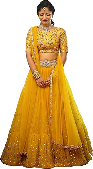 641799c6cd RR Crafts&Creations Women's Silk Sequence Embroidary Semi Stitched Lehenga  Choli (Yellow) (Free Size