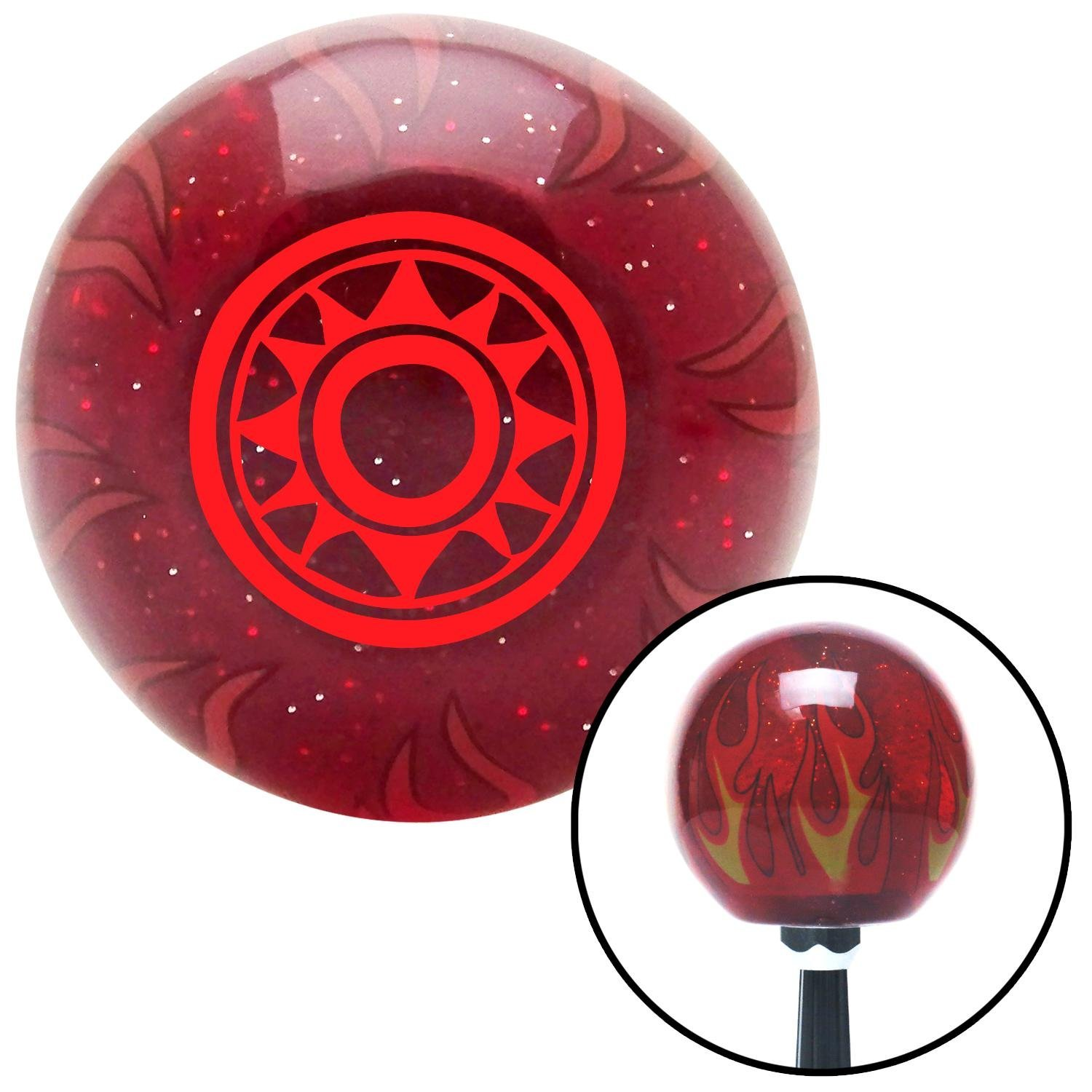 Red Hawaiian Sun #2 American Shifter 240869 Red Flame Metal Flake Shift Knob with M16 x 1.5 Insert