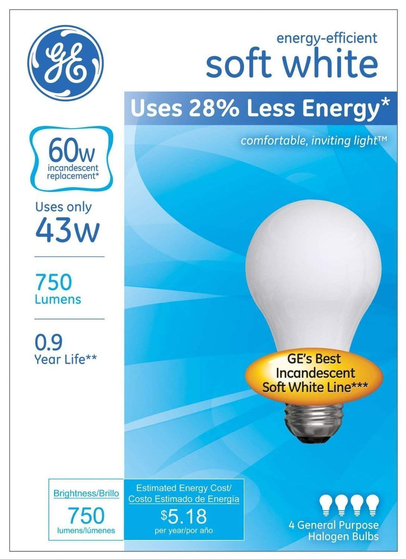 GE Lighting 66247 Soft White 43-Watt 620-Lumen A19 Light Bulb with Medium Base 12-Pack