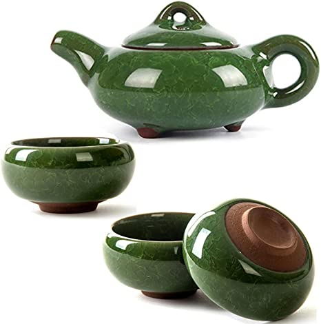 CoreLife Chinese Tea Set 6 Cups with Teapot - Teal with Raised Koi Fish Design Kung Fu Porcelain Handmade Ceramic Tea Set