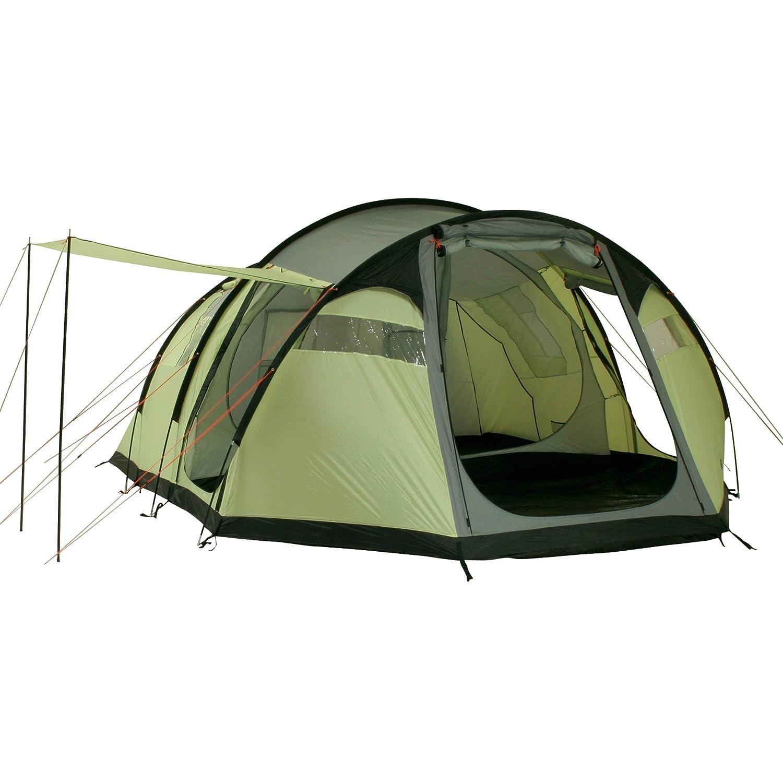 10T Camping-Zelt Wilton 6 Tunnelzelt mit Schlafkabine für 6 Personen Outdoor Familienzelt mit Wohnraum, eingenähte Bodenwanne, Sonnendach Aufstellstangen, wasserdicht mit 5000mm Wassersäule