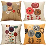 TongXi Cartoon Flowers Pattern Cushion Covers Decorative Throw Pillows For Sofa 18x18 inches Pack of 4