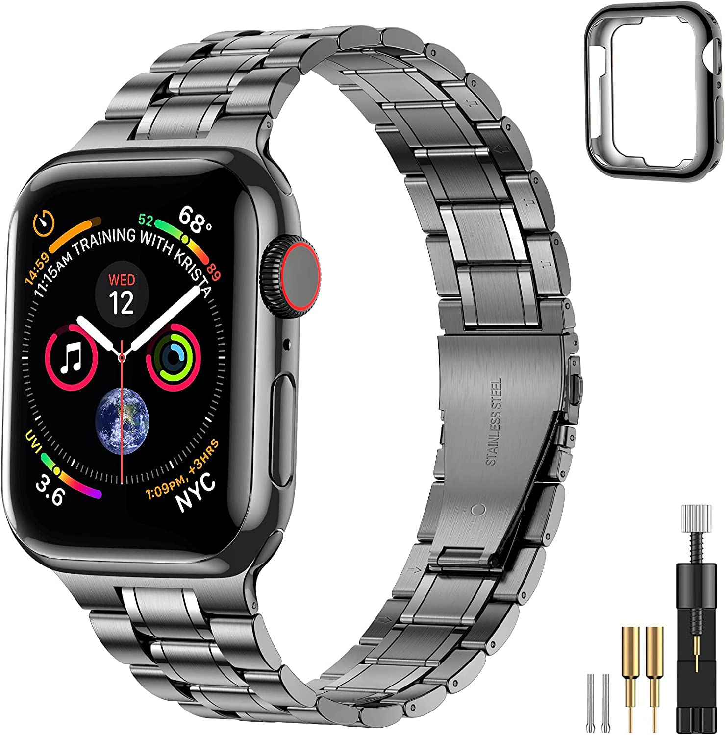 Suplink Bands Compatible Apple Watch Band 38mm 40mm 42mm 44mm, Solid Stainless Steel Metal Slim Replacement Wristband Strap for iWatch Series 6/5/4/3/2/1/SE women and Men(Space Gray,38/40mm)