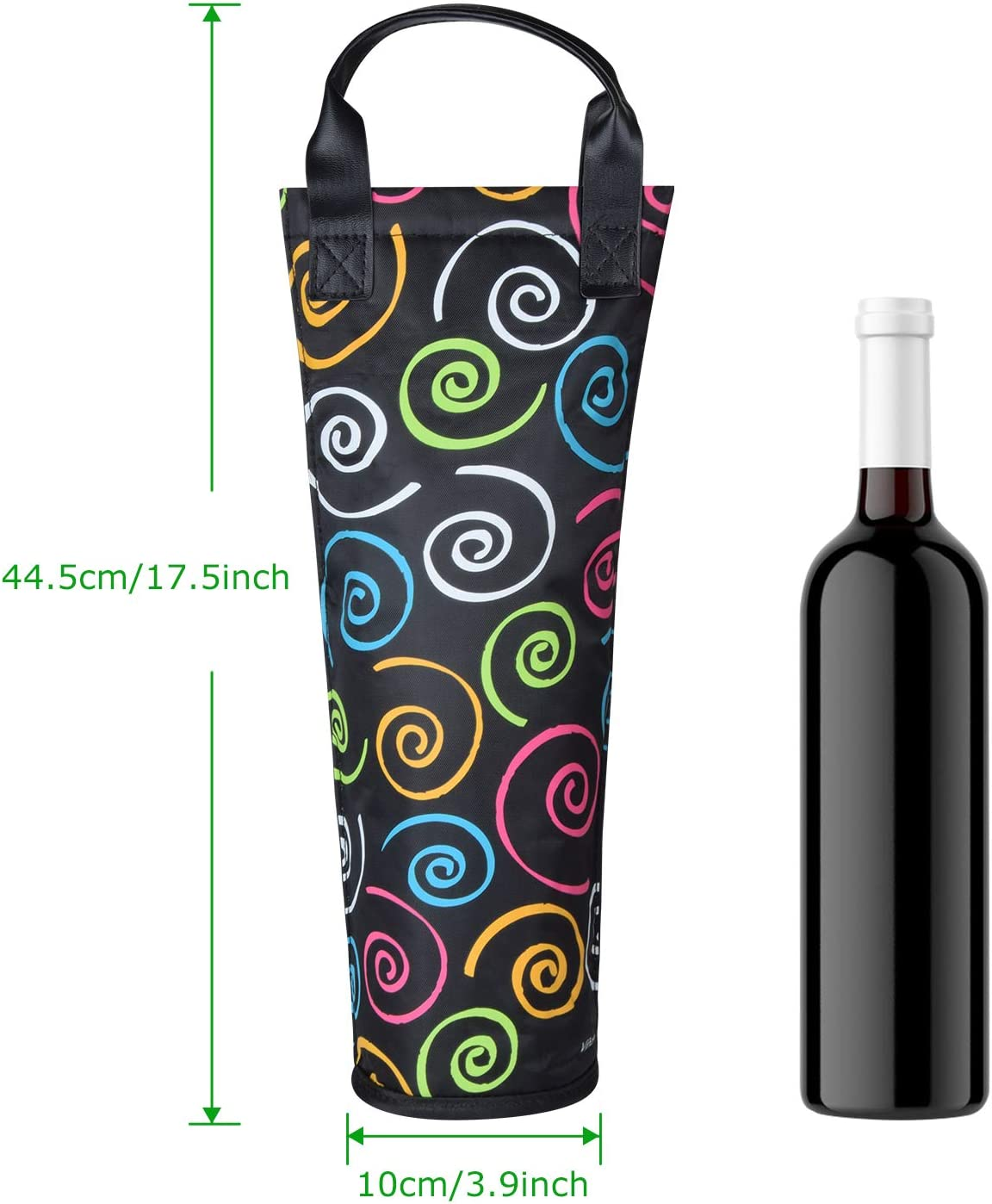 Amazon Com Insulated Single Bottle Nylon Wine Tote Carrier Travel Cooler Bag Purse Leather Handles Steel Opening Reusable Spiral Bar Tools Drinkware