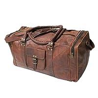 "Handmade Vintage 24"" Men's Genuine Leather Duffle Travel Overnight Gym Bag Brown"